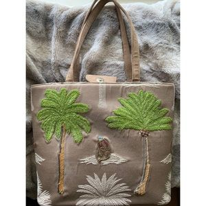 Embroidered Beaded Palm Tree Tote